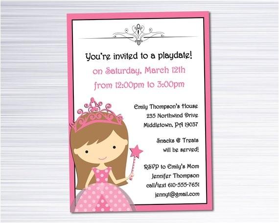 playdate invitation princess play date