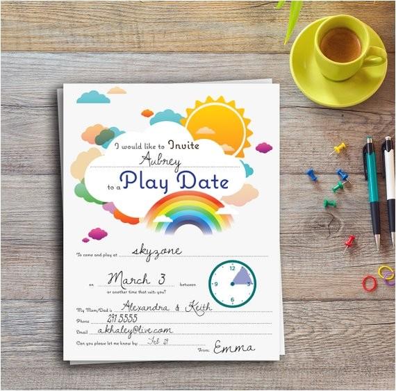 play date invitation colorful editable