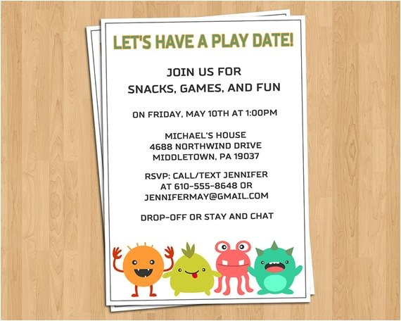 playdate invitation little monsters play