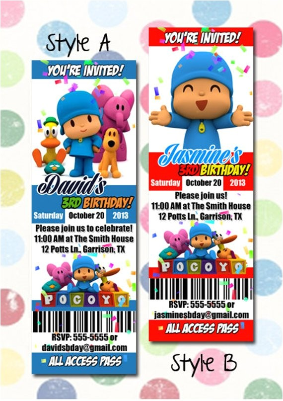 pocoyo birthday party invitation ticket