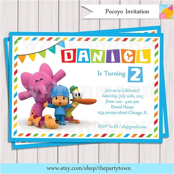 pocoyo invitation pocoyo birthday party invitation