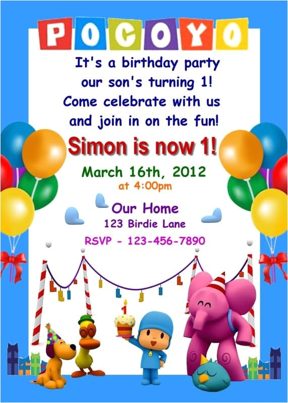 pocoyo birthday invitation 125626437