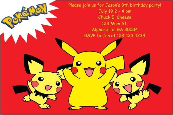 pokemon birthday invitations