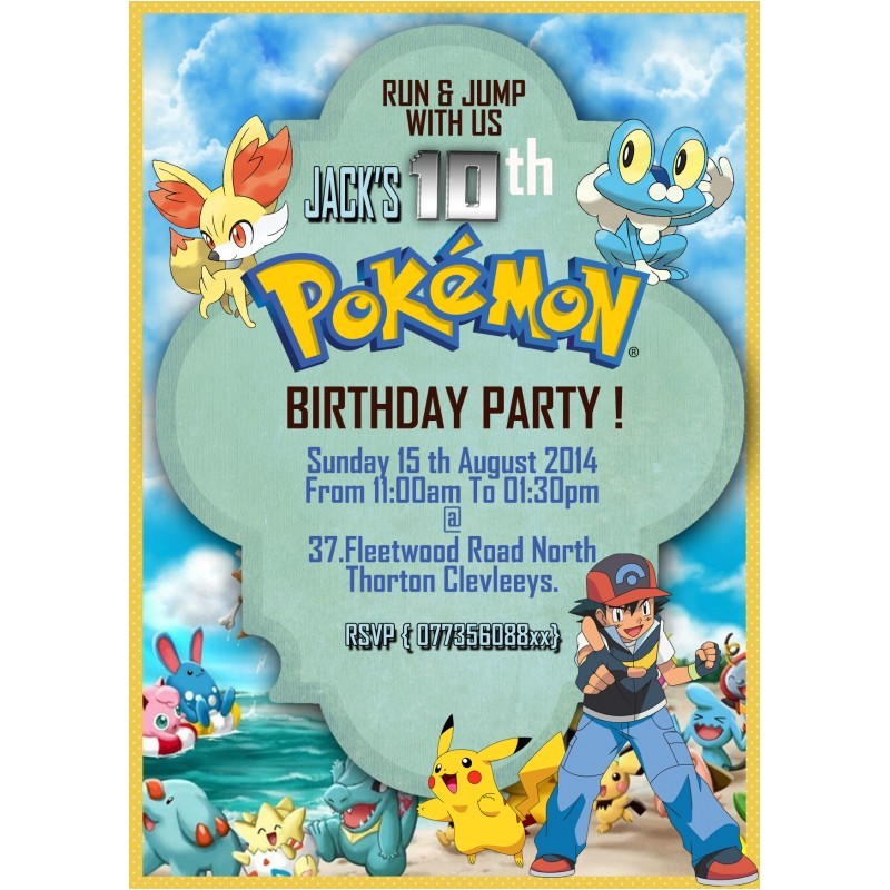 101 personalize pokemon party invitationsthank you cards