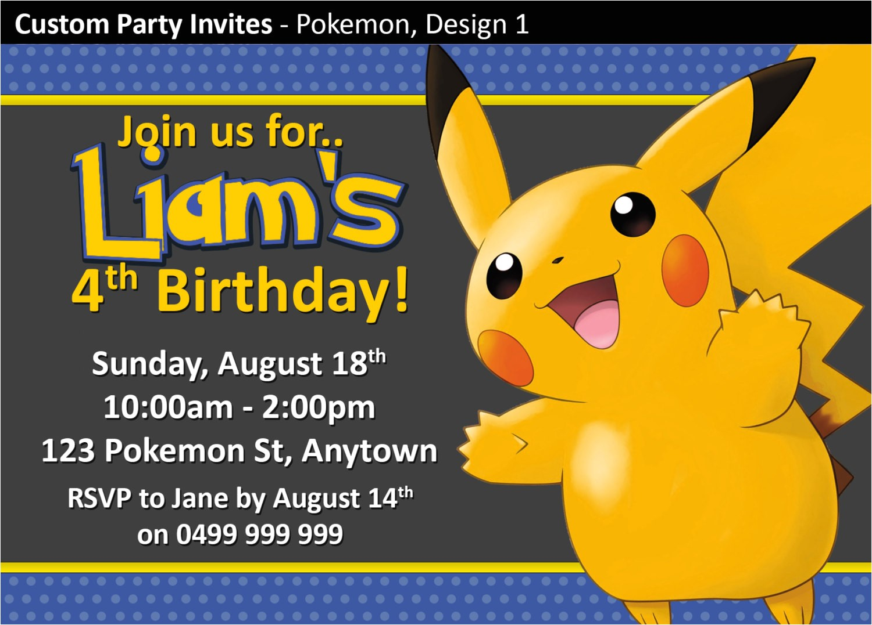 pokemon birthday invitations free