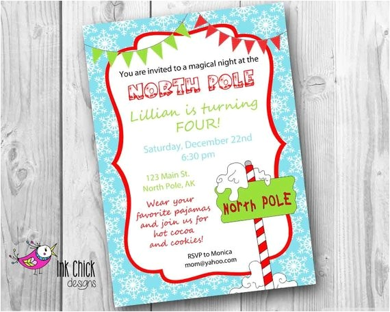 north pole birthday party invitation
