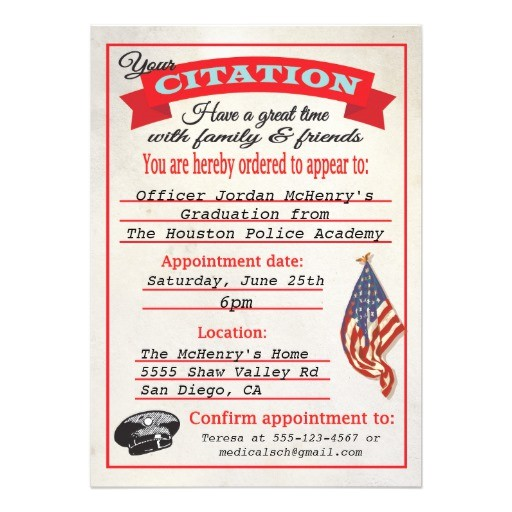 police academy graduation citation invitation 161845726489320984