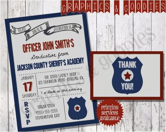 police academy graduation invitation w