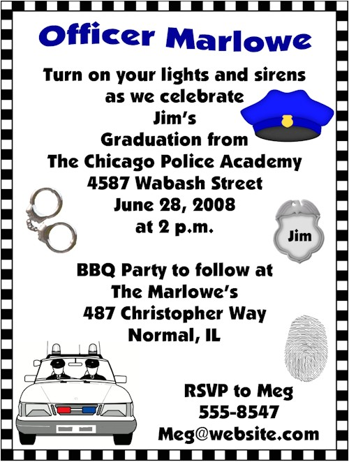 police academy graduation invitations
