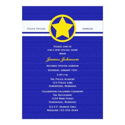 police graduation invitations yellow police badge 161719528091645881