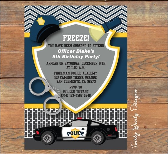police birthday invitation printable