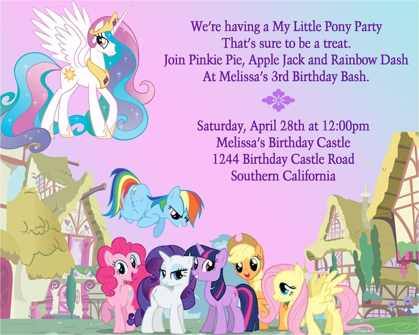 awesome my little pony invitation template