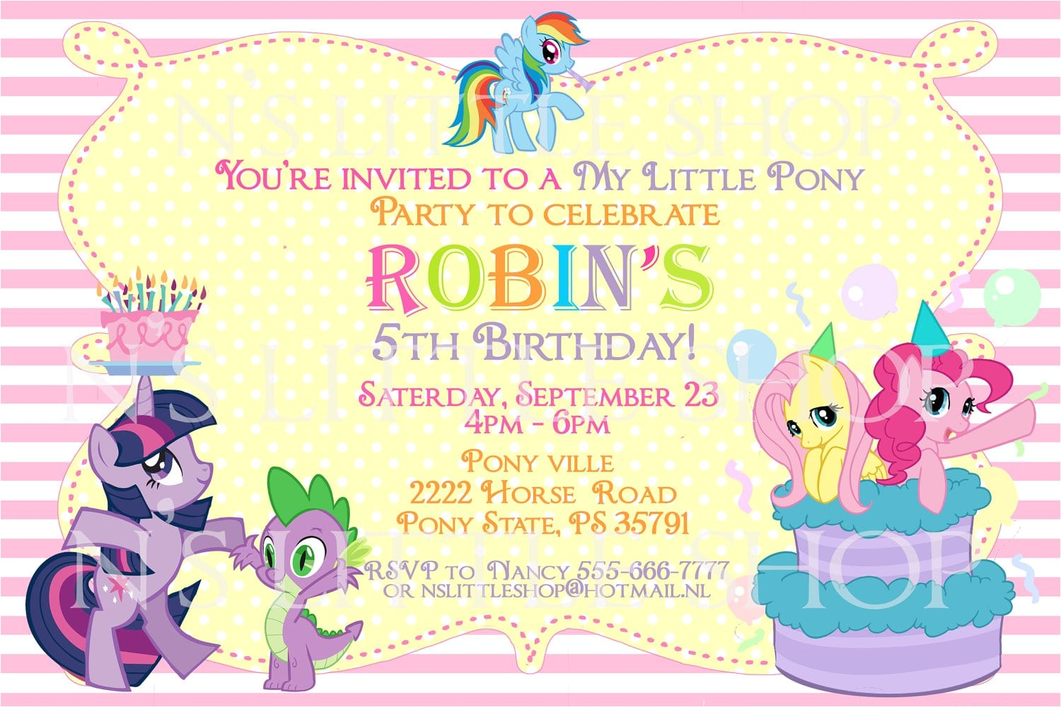 free printable pony party invitation