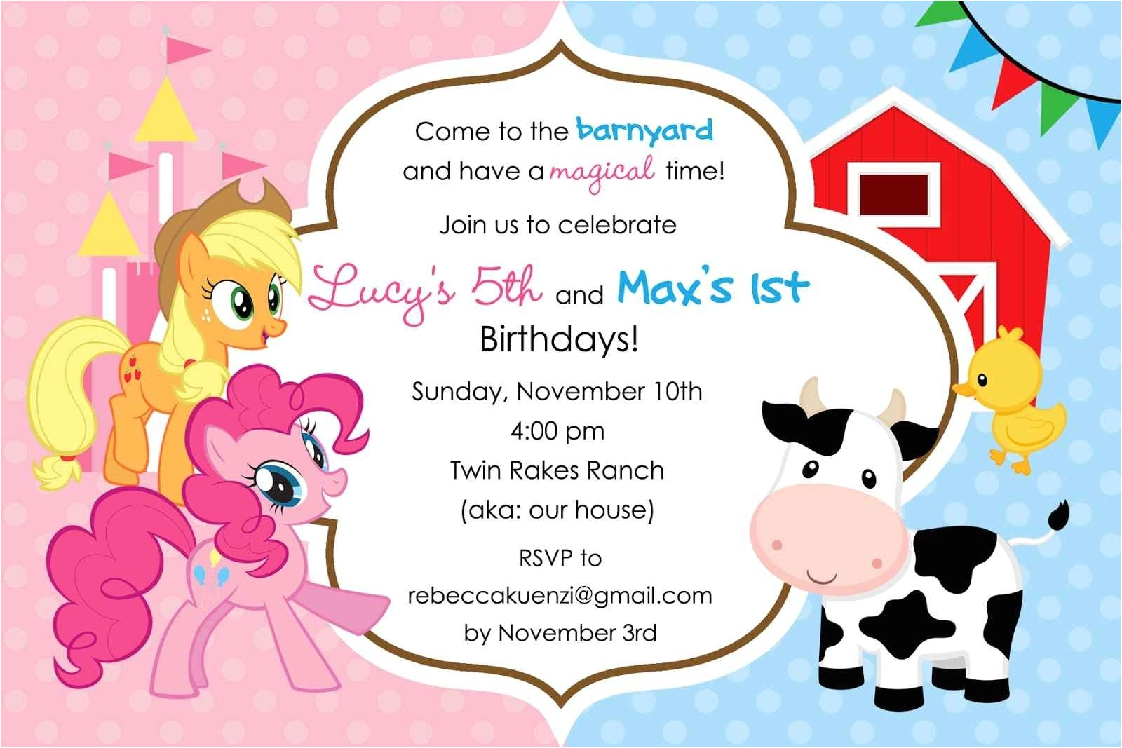 my little pony birthday invitations template