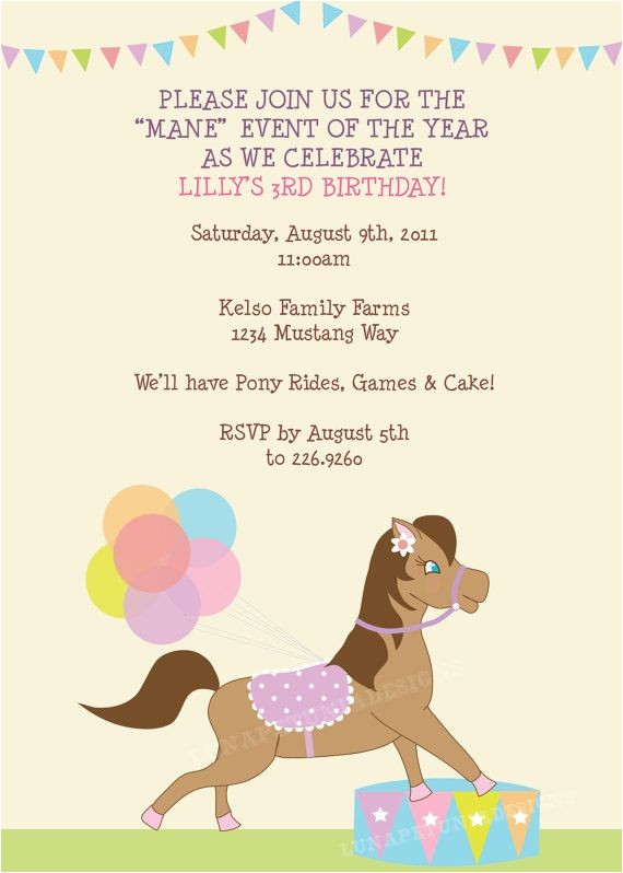pony birthday invitations