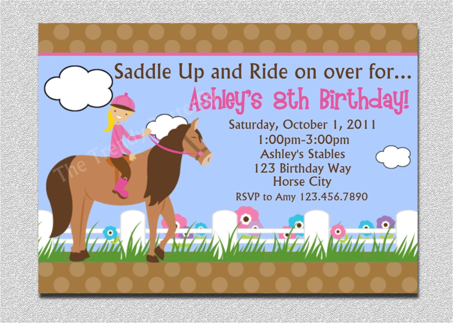 free printable horse birthday invitations