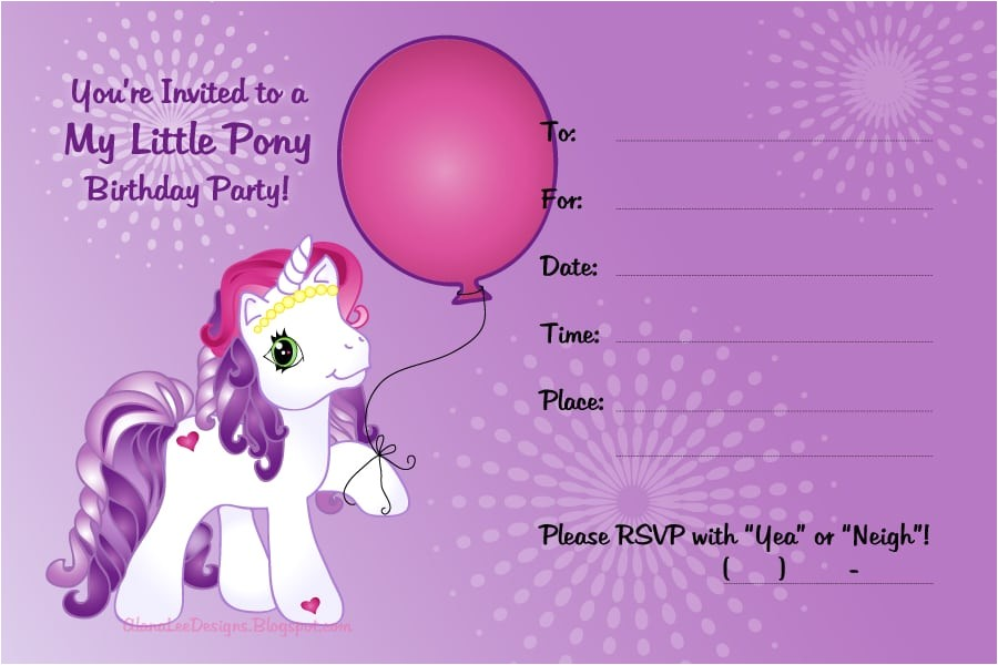 my little pony invitation free printable