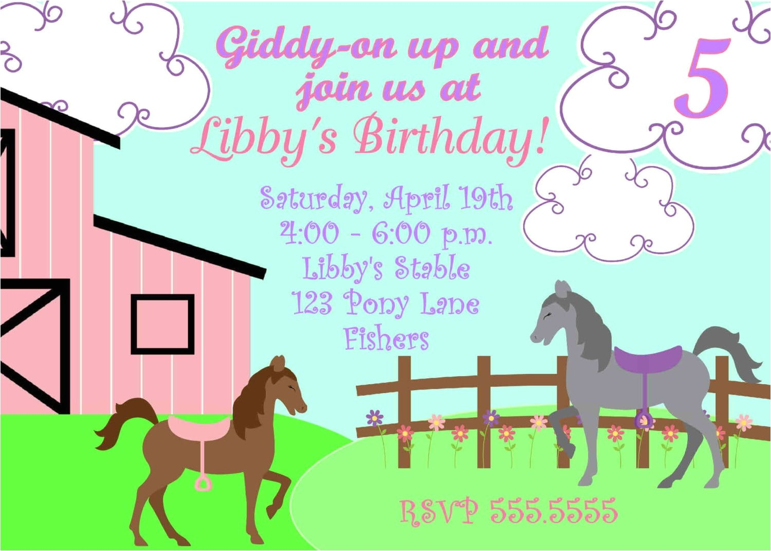 printable pony party invitation