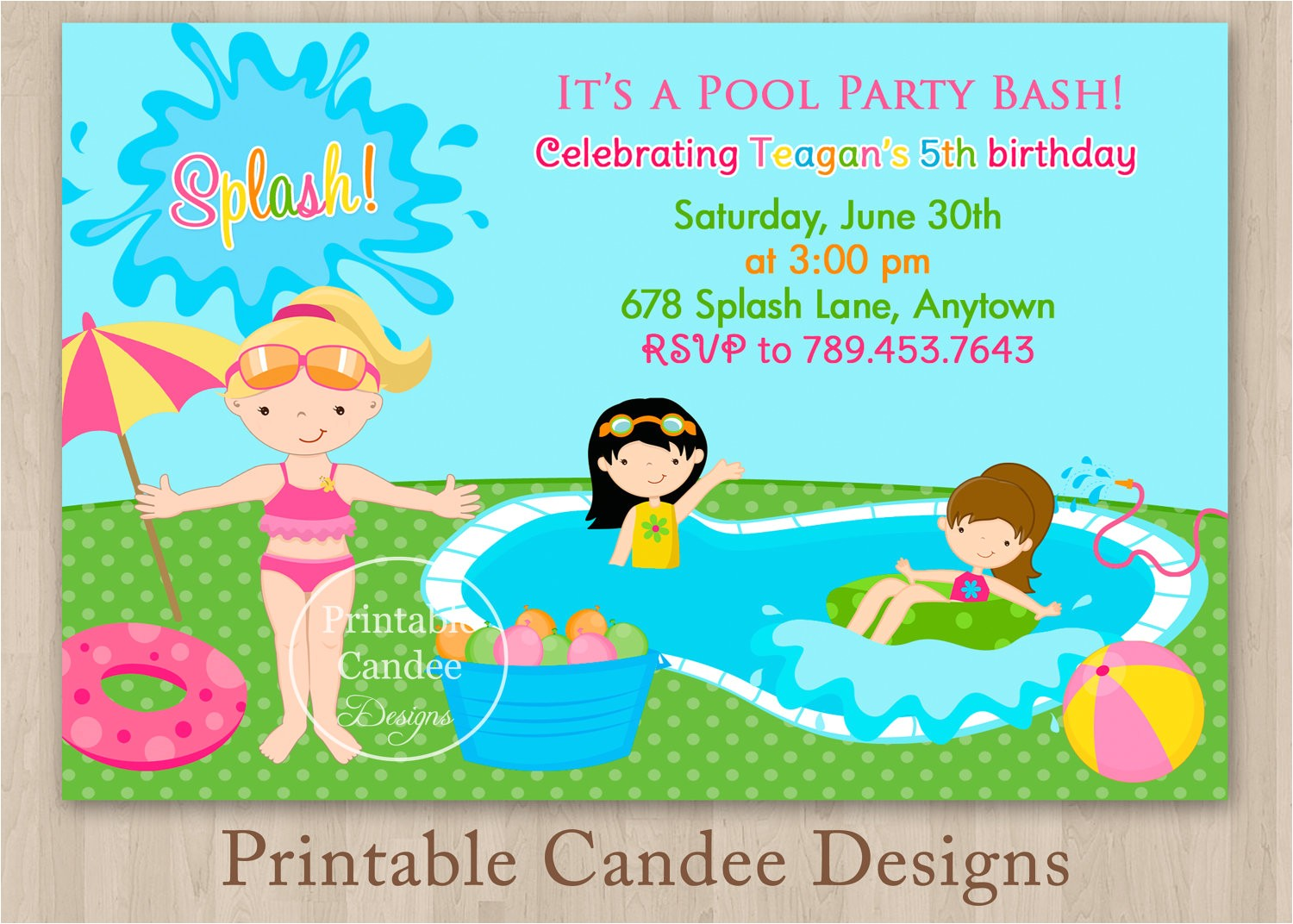 free printable birthday pool party invitations templates