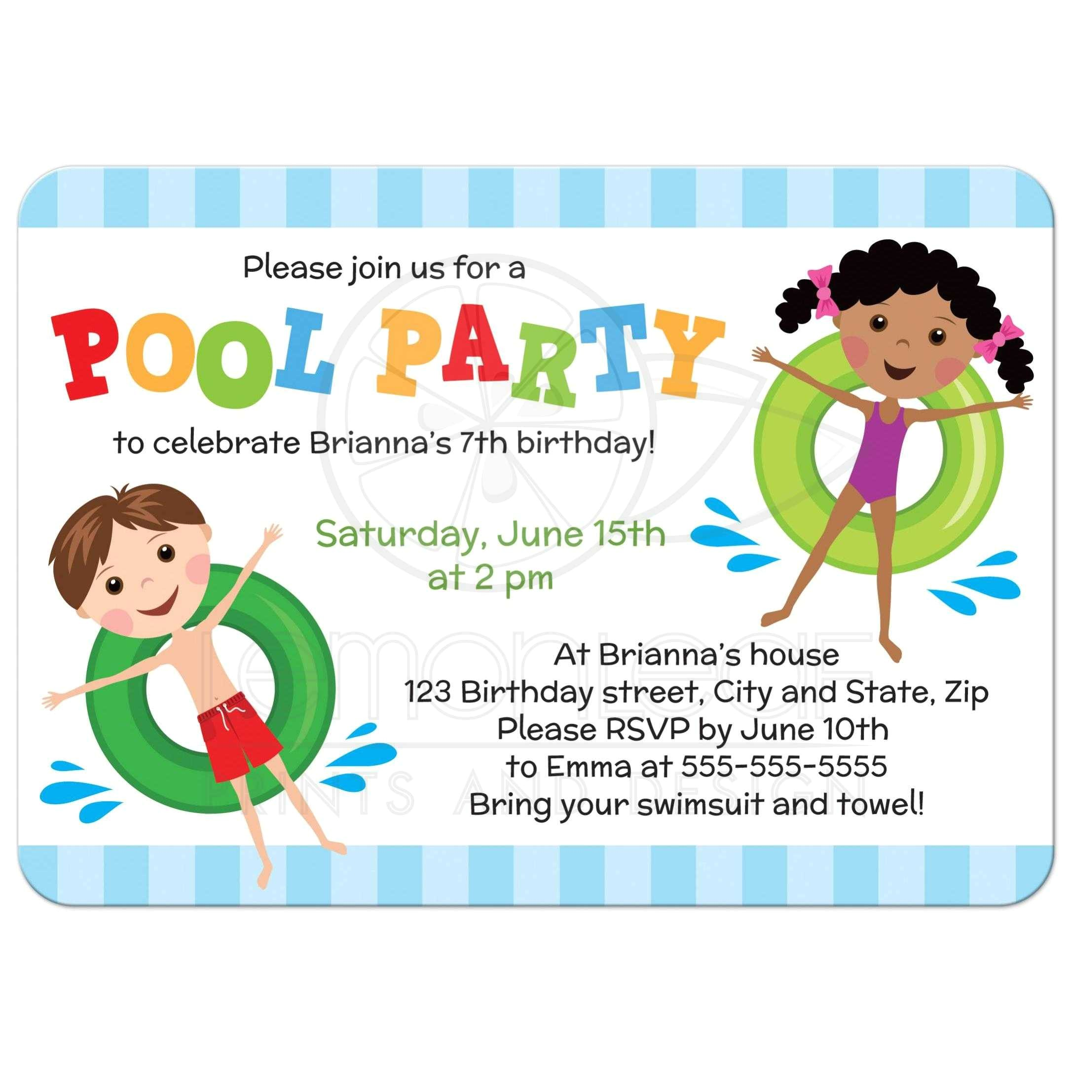 pool birthday party invitation for kids boy and girl on inflatables