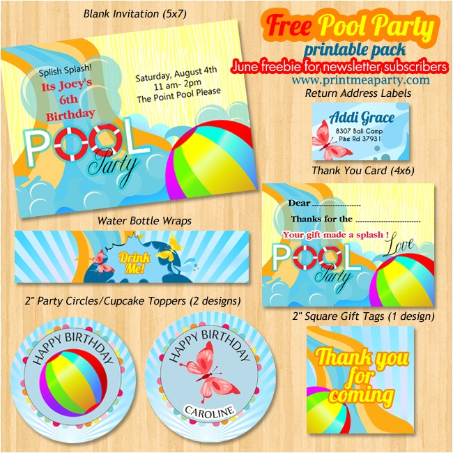printable pool party invitations template