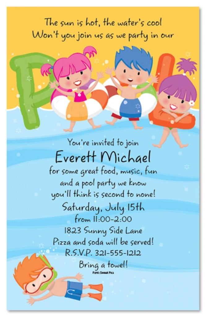 free download kids invitation swimming