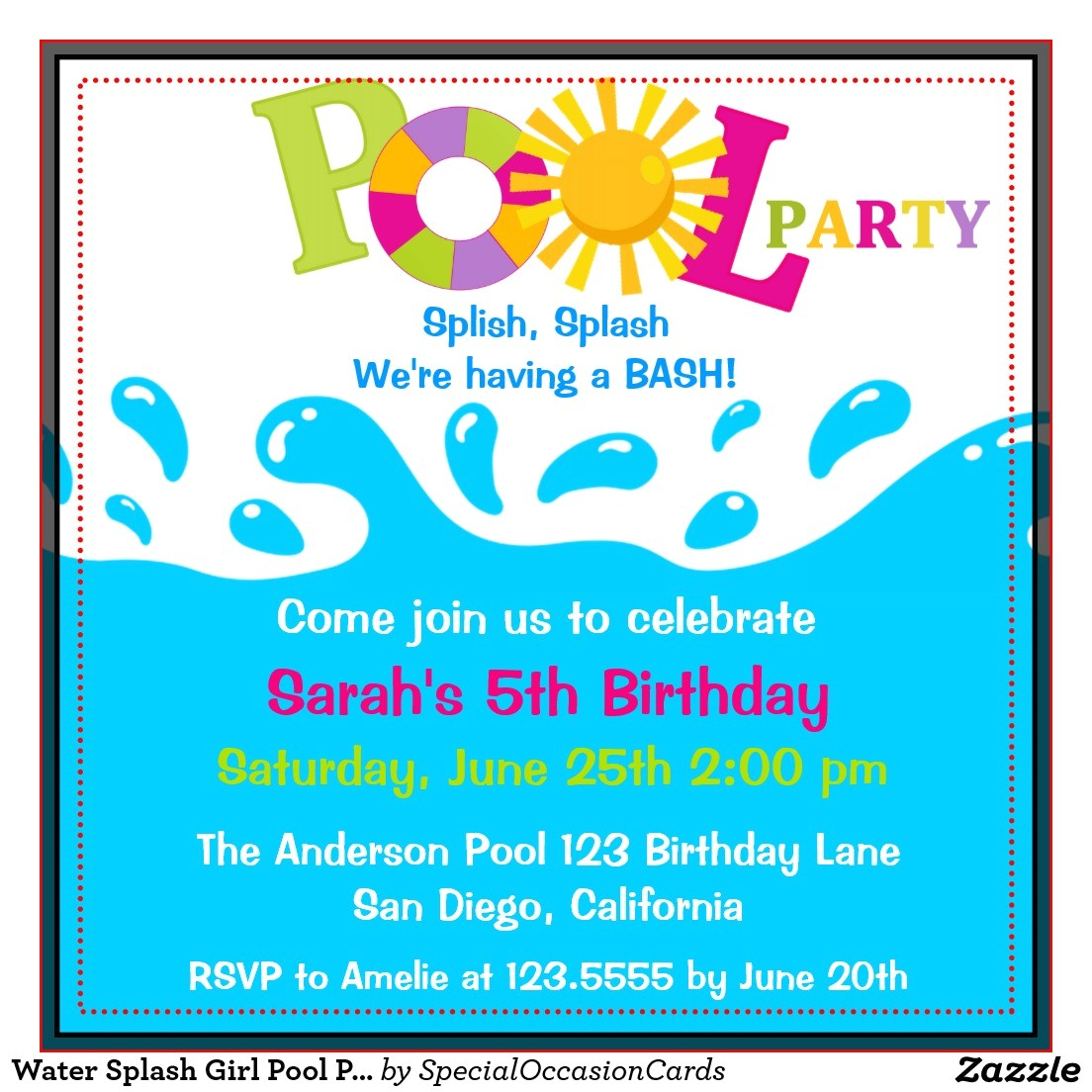 free pool party birthday invitations ideas