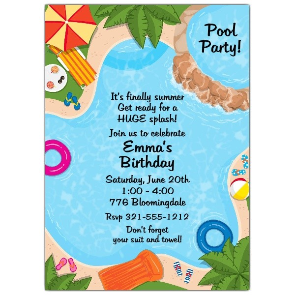 backyard pool party invitations p 643 57 564