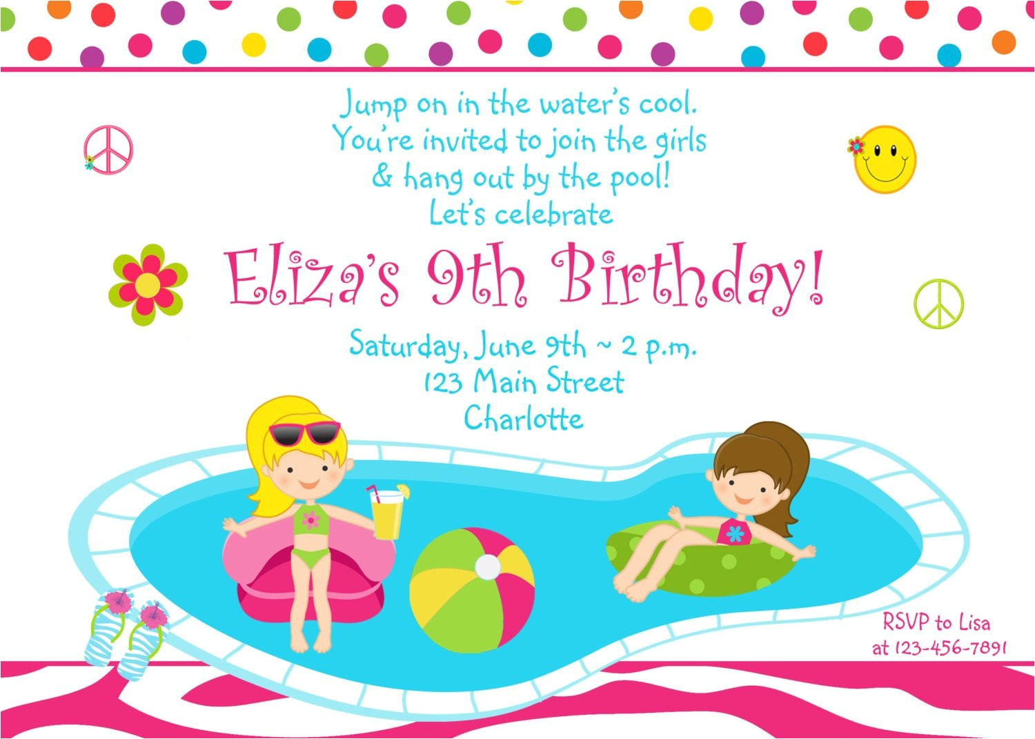 pool party birthday invitation girls