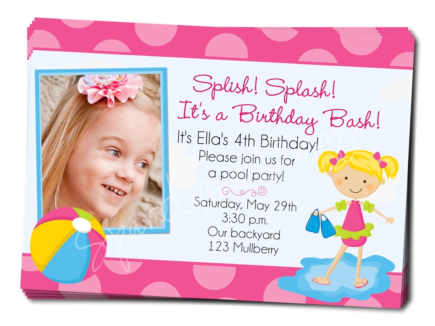 birthday pool party invitation wording