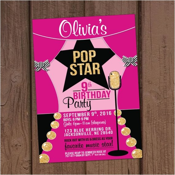 pop star birthday party invitation