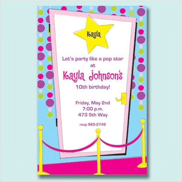 pop star party invitations p 266 p410