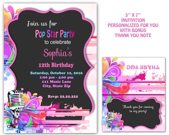 pop star party pop star invitation