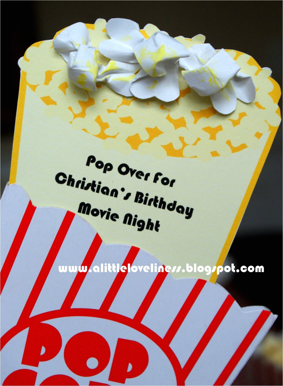 popcorn movie party invitation tutorial