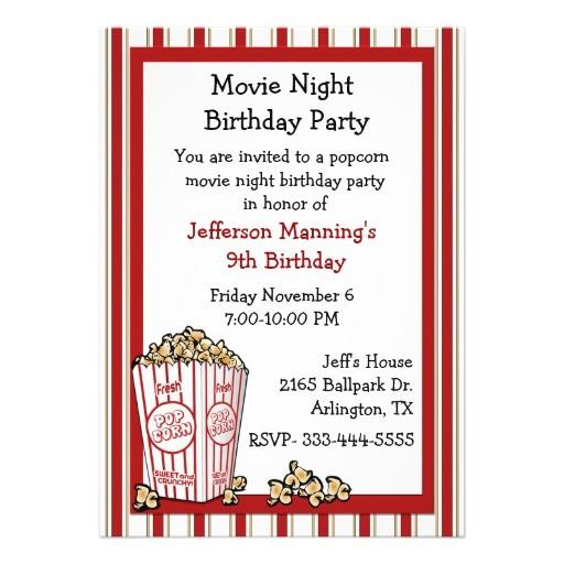 fun popcorn birthday party invitation 161934444183313641