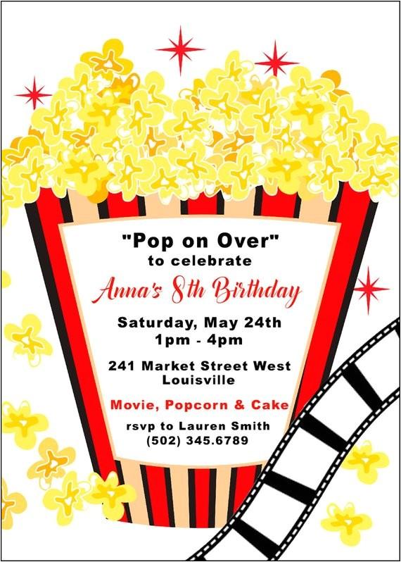movie birthday party invitation popcorn