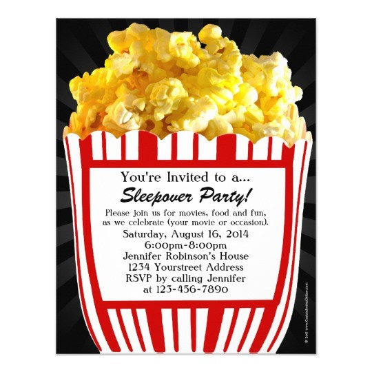 movie popcorn sleepover custom party invitations 161210387173911373