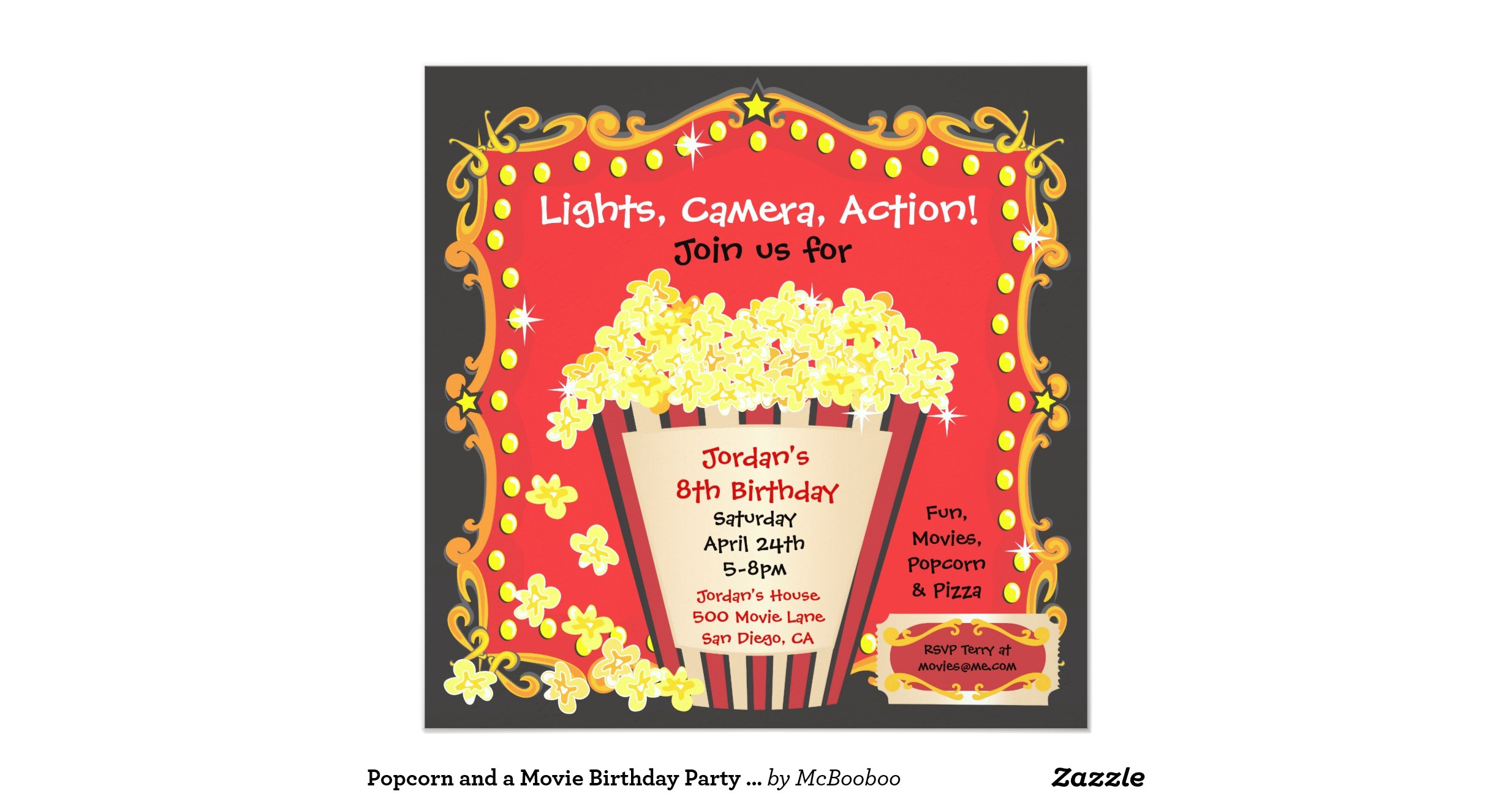 popcorn and a movie birthday party invitation 161377469225495268
