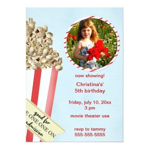 popcorn birthday party invitation 161100184622395368