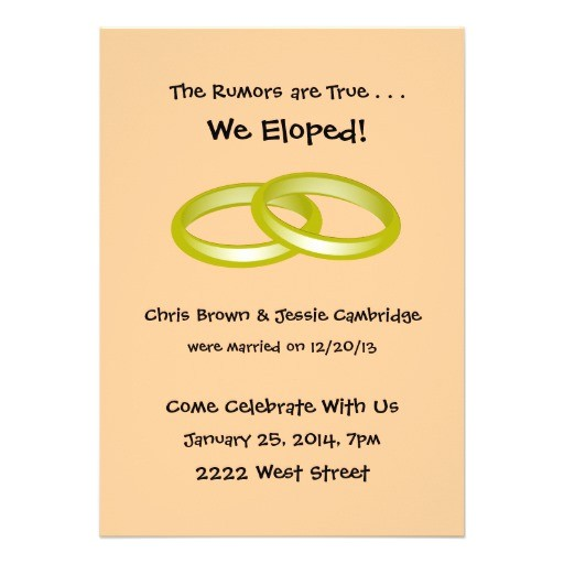 we eloped post wedding party invitation 161497692534511907