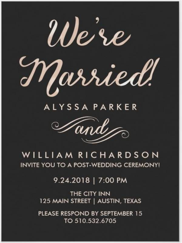 wedding reception invitation after eloping