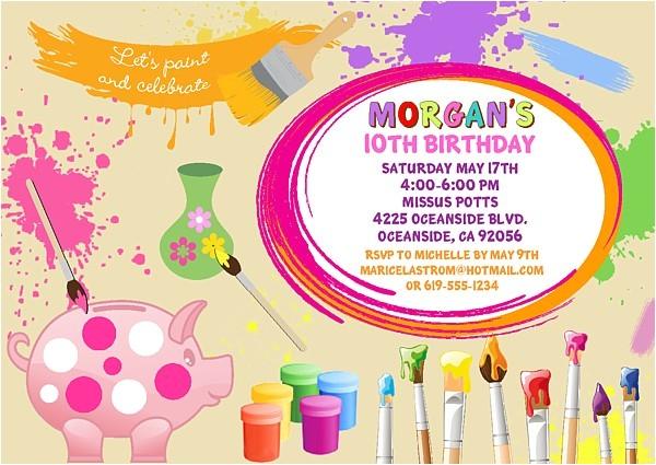 ceramics pottery painting birthday party invitations