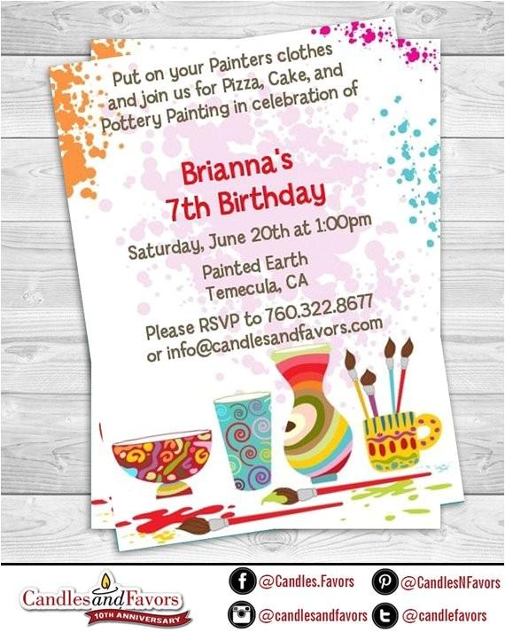 pottery painting birthday party invitation professionally