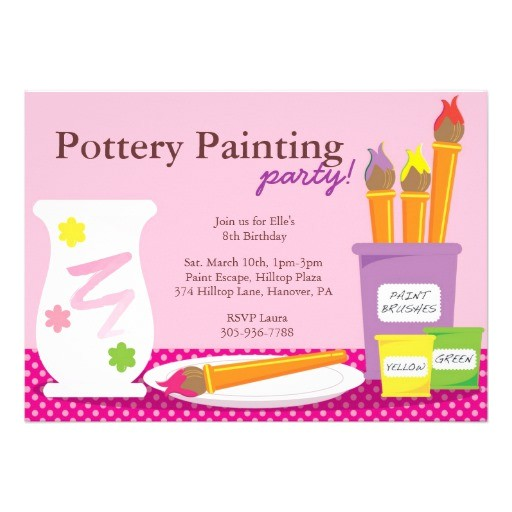 pottery painting party invitations 161083109850477258