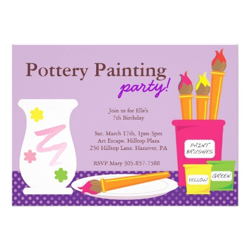 pottery painting party invitations 161418976965513903
