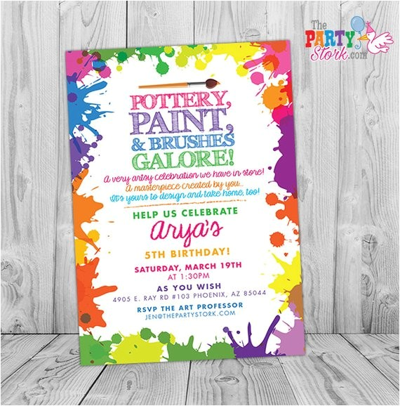 pottery party invitations printable