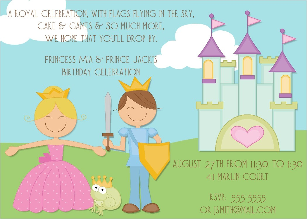 new prince and princess invitations and