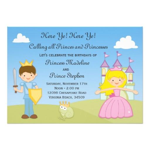 prince and princess birthday party invitation 161558686852303380