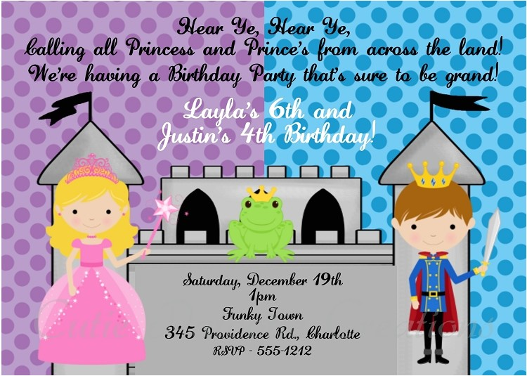 prince and princess birthday party invitations printable or printed p 998