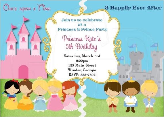 princess and prince invitation digital